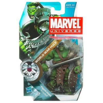 Marvel Universe Year 2010 Series 3 SHIELD Single Pack 4-1/2 Inch Tall Action Figure #3 - WORLD WAR HULK with Long Sword, Battle Axe, Shield and Figure Display Stand Alien Battle Axe