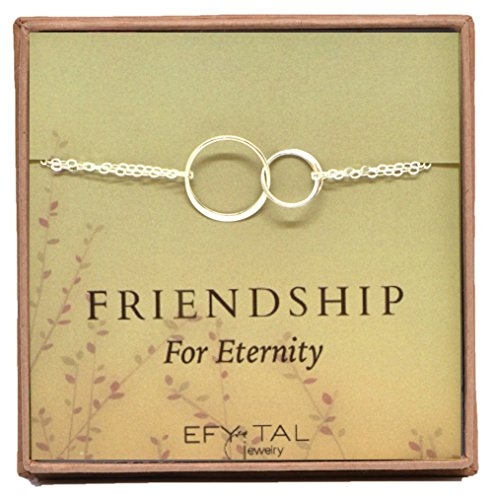 Sterling Silver Friendship for Eternity Bracelet, Two Interlocking Infinity Circles Gift For Best Friend (Bracelets Sterling Friendship Silver)