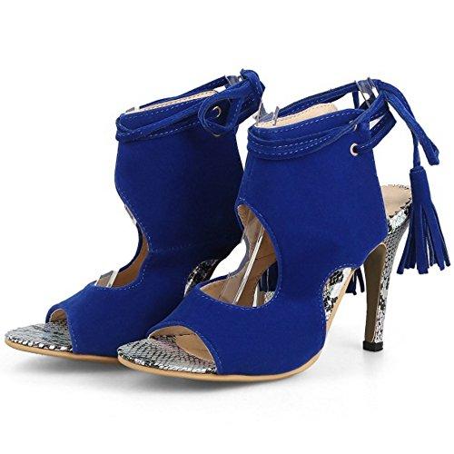 TAOFFEN Women Elegant Peep Toe Back Strap Lace Party Stiletto Heels Sandals Blue 6v32i