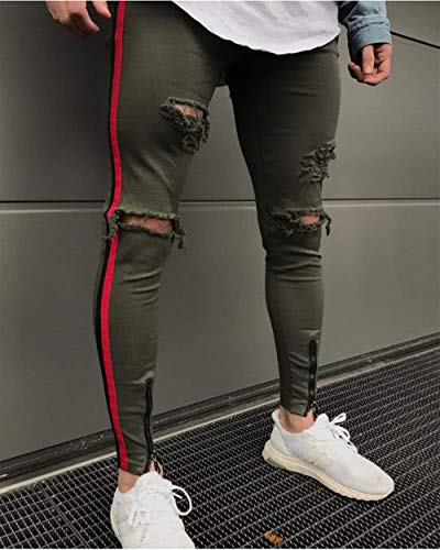 Denim Uomo Da Armee Slim grün Jeans Stile Pantaloni Casual Fit Semplice Strappati zRqffp