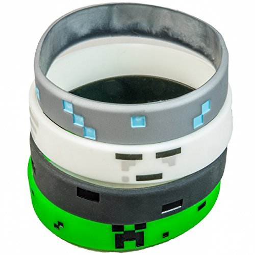 Pixellated Video Game Style Silicone Wristbands - 8 Pack Party Favor Set (2 of each design) - Creeper, Diamond, Ghast, Wither (Party City Dr Seuss Hat)