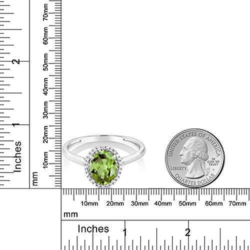 10K White Gold Diamond Halo Engagement Ring set with 1.33 Ct Oval Green Peridot (Available in size 5, 6, 7, 8, 9)
