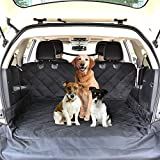 "CCJK Cargo Liner for Dogs Waterproof Noslip Pet Seat Cover with Anchors for Secure Fit Machine Washable Thick HD Fabric Cargo Cover for SUVs – Large Size 52″ 82"" (WL)"