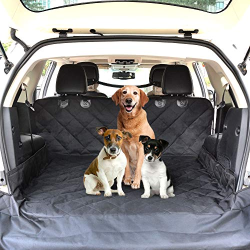 """CCJK Cargo Liner for Dogs Waterproof Noslip Pet Seat Cover with Anchors for Secure Fit Machine Washable Thick HD Fabric Cargo Cover for SUVs – Large Size 52″ 82"""" (WL)"""
