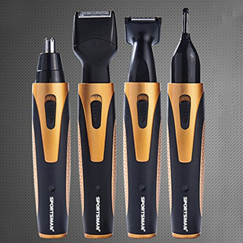 Nose Hair Trimmer 4-in-1 Lithium Powered Grooming Kit Nose Hair Device Beard Trimmer Razor Sideburn Trimmer Eyebrow Trimmer Water Resistant with Wet Dry System For Men Women (Golden) (Trim Grd)