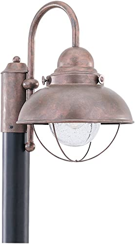 Sea Gull Lighting 8269-44 Sebring One Light Outdoor Post Lantern, Weathered Copper