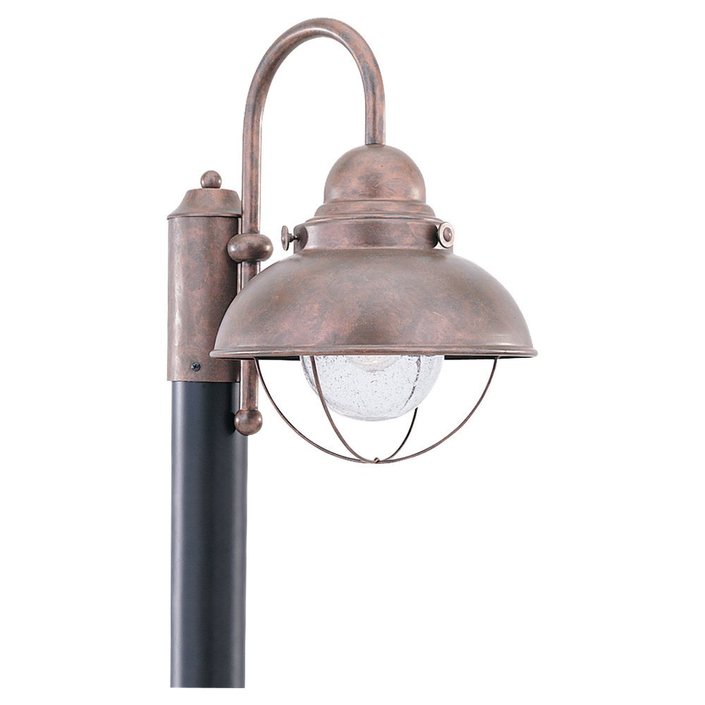 Sea Gull Lighting 8269-44 Outdoor Post Mount with Clear SeededGlass Shades, Weathered Copper Finish