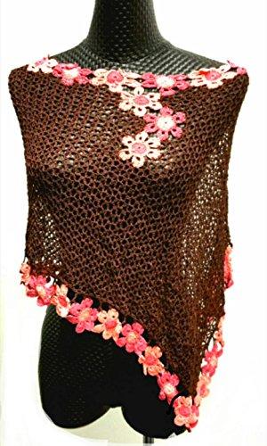 CRUISE Knit Crochet Poncho Swim Cover Pool Drape Top --brown by Crochet Poncho
