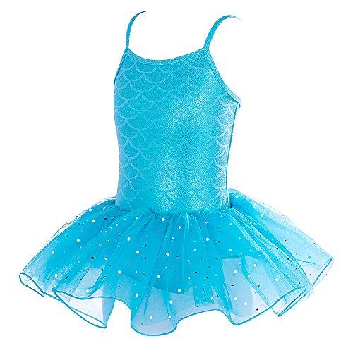 (Girls Leotards Gymnastics Toddler Sparkle Dance Dress Ballet Mermaid Costume (Blue,)