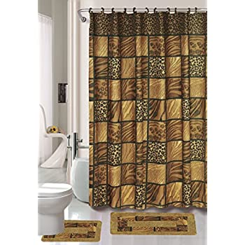 15 Piece Bathroom Accessory Set: 2 Rugs/Mats (1 Contour Rug, 1 Bath Mat)  Poly Acrylic Pile Rubber Backing, 1 Fabric Shower Curtain, 12 Fabric  Covered Rings ...