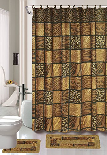 Safari Printed - Printed Leopard's Skin Design, Safari 15 Piece Bathroom Set, Brown and Beige, Bath Rugs, Shower Curtain, and Hooks