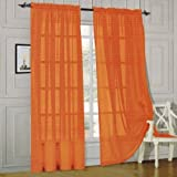 Elegant Comfort 2-Piece Sheer Panel with 2inch Rod Pocket-Window Curtains 60-Inch Width X 84-Inch Length-Orange