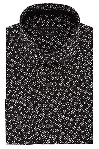 Sean John Men's Regular Fit Print Spread Collar Dress Shirt, Onyx, 16.5