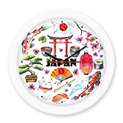 Japan Culture Cute Japanese Style Watercolor National Flag Lucky Cat Sakura Sushi Chopsticks Carp Archway Lantern Illustration Silent Non-ticking Round Wall Decorative Clock Home Decal