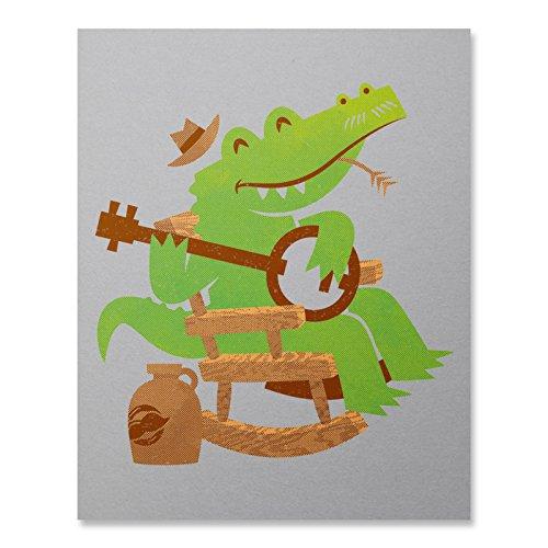 - Sweet Home Alligator Print / Alligator Print / Banjo Print / Music Wall Art / Animal Art Print / Home Decor / 8 x 10 / 18 x 24