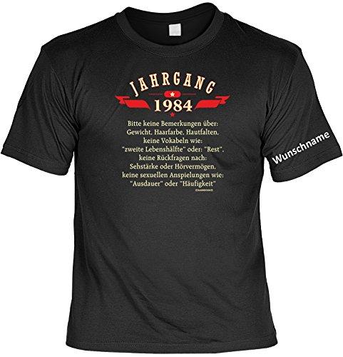 T-Shirt mit Wunschname - Jahrgang 1984 - Lustiges Sprüche Shirt als Geschenk zum 33.Geburtstag - NEU mit persönlichem Namen