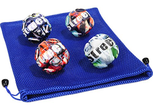 Waboba Street Ball _ Bundle of 4 Balls _ in 4 Unique Colors _ BONUS Soft Nylon Mesh Drawstring 9 x 12 Royal Blue Carry Bag