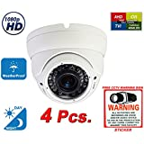 Evertech 1080P 2.1MP HD Day Night Vision Outdoor Indoor Dome CCTV Security Camera Compatible AHD TVI CVI and Traditional Analog DVRs w Free CCTV Sticker Warning Sign (4 pcs. 1080P (All White))