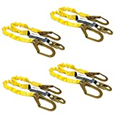 KwikSafety (Charlotte, NC) PYTHON (4 PACK) Double Leg 6ft Tubular Stretch Safety Lanyard | OSHA ANSI Fall Protection EXTERNAL Shock Absorber | Construction Arborist Roofing | Snap Rebar Hook Connector