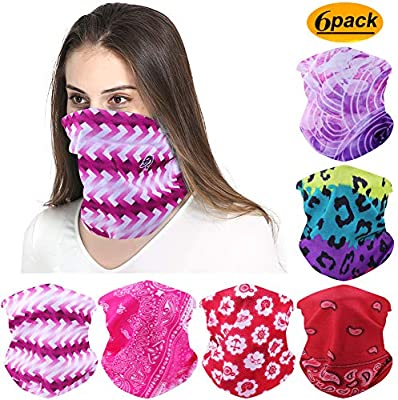 FAYBOX 6pcs Magic Wide Wicking Headbands For Men and Women Outdoor Headwear Tube