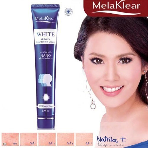 Melaklear White Melasma Brightening Cream UV Protection SPF 15 Enriched with Nano Alpha Arbutin Dark Spot 30 G. : 1 Box