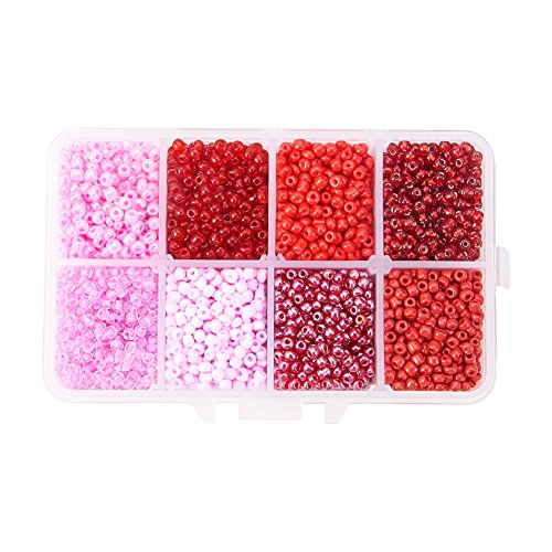 PH PandaHall 3600 Pcs Mixed 8/0 Round Glass Seed Beads Diameter 3mm Red with Box Set Value Pack (Mixed Red Glass)