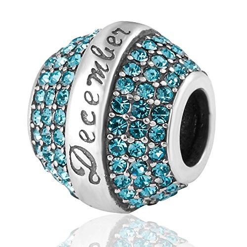 Crystal December Charm - ABUN Birthday 12 Colors Christmas Charms 925 Sterling Silver Crystal Charm for European Bracelet (Blue December Stone)