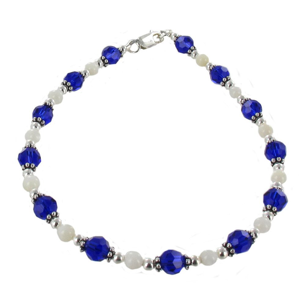 Timeless-Treasures Womens Cobalt Blue Czech Fire Polished Glass, Mother of Pearl & Sterling Silver Anklet w/Daisies - 11''