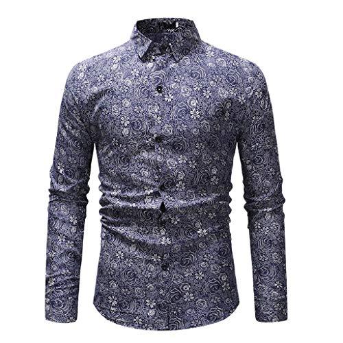Lilac Cummerbund (QBQCBB Men Printed Long-Sleeve Tee Shirt Beefy Muscle Basic Solid Blouse Top(Navy A,L))