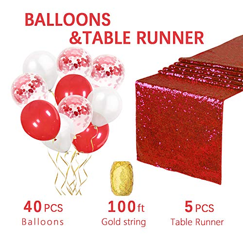 Valentine's Red Table Runners 12x108inches 5PCS party table runner Confetti Balloons Perfect to celebrate Valentine's Day ()