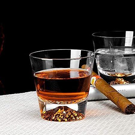 TQJ Botella de Whisky con Vaso Whisky degustación de Vidrio Whiskey Licor Cristal Cristal Vidrio Copa Creativa MT.Fuji Snow Mountain Cup Regalo Elegante único Botella de Whisky Regalo