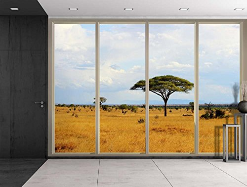 Trees and Shrubs at the Safari on a Cloudy Day Viewed From Sliding Door Creative Wall Mural Peel and Stick Wallpaper