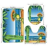 3 Piece Bathroom Mat Set,Animal Decor,Illustration of a Frog on Sandy Beach with Palm Trees and Ocean Tropical Print,Green Blue Cream,Bath Mat,Bathroom Carpet Rug,Non-Slip