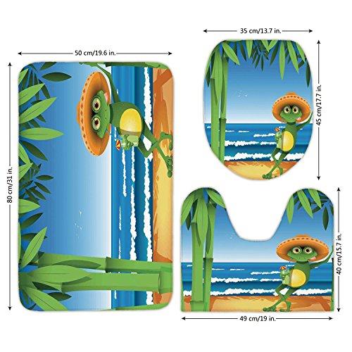 3 Piece Bathroom Mat Set,Animal Decor,Illustration of a Frog on Sandy Beach with Palm Trees and Ocean Tropical Print,Green Blue Cream,Bath Mat,Bathroom Carpet Rug,Non-Slip by iPrint