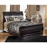 Queen Sleigh Bed in Dark Burgundy Finish by Ashley Furniture