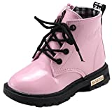 WUIWUIYU Boy's Girl's Waterproof Lace-Up Short Ankle Boots(Toddler/Little Kid/Big Kid)-Pink Size 1