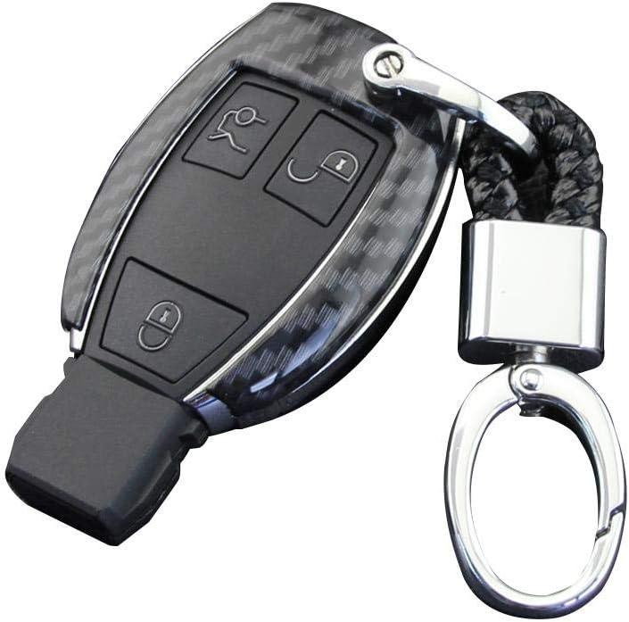 urbenlife Coperchio Chiave Auto per Mercedes-Benz Portachiavi in Fibra di Carbonio con Guscio Rigido per Mercedes-Benz Classe C C200l Glc260gle320c180 Fibra di Carbonio Cla220gla Smart Modelli