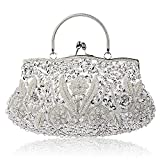 Meeto Collection Antique Floral Seed Bead Sequin Soft Clutch Evening Bag Designer Purse Large Clutch Handbag (Silver)
