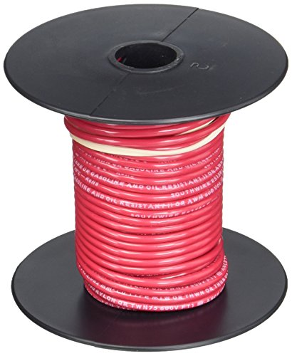 Southwire 22957551 50-Feet 14-Gauge Stranded Thermoplastic, High Heat Resistant Nylon Jacket THHN Multi-Purpose Building Wire, Red