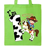 Inktastic - I'm One-cowboy riding horse birthday Tote Bag Lime Green