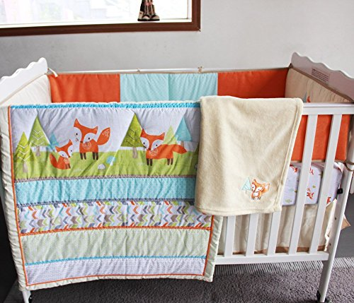 NAUGHTYBOSS Unisex Baby Bedding Set Cotton 3D Embroidery Prairie Fox Quilt Bumper Bedskirt Fitted Blanket 8 Pieces Color Matching by NAUGHTYBOSS (Image #2)