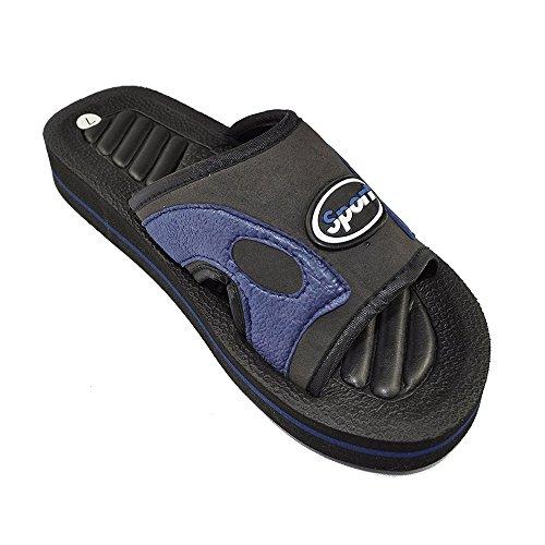 Mens Flip Flop Tjock Plattform Sandal Lätt Hållbara Toffel Inomhus Utomhus Blå