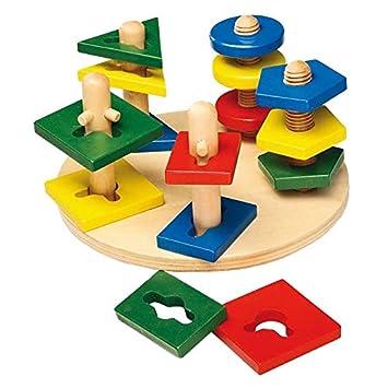 Steckspiele Holzspielzeug Steckspiel aus Holz Sortierspiel  Farben und Formen Die 4 Türme