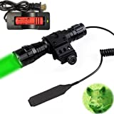 WINDFIRE Waterproof CREE Green Light LED Coyote Hog Hunting Light Tactical Flashlight Pressure Switch 45°Side Picatinny Mount Rail Offset Ring Side Mount (Battery Charger Included)