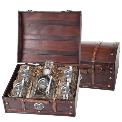 Ohio State Buckeyes Capitol Decanter Wood Chest Set by Heritage Pewter