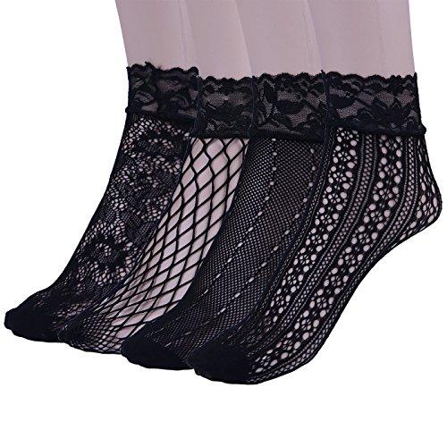 HDE Women's Lace Fishnet Ankle Socks Black Hollow Out Sheer Dress Socks (4 Pack)