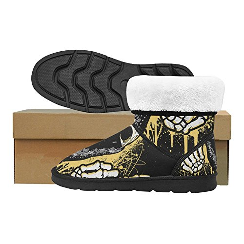 InterestPrint LEINTEREST Skull Flips The Bird Snow Boots Fashion Shoes For Men vnpiT