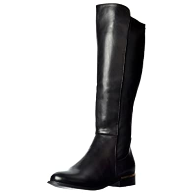 f24954b505c Onlineshoe Women s Ladies Gold Heel Detail Extra Wide Calf Stretch Knee  High Flat Riding Boot -