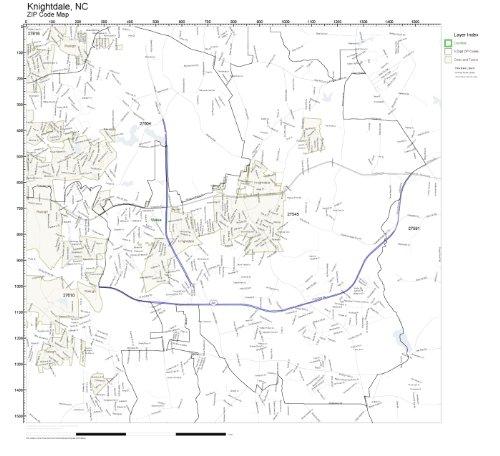 ZIP Code Wall Map of Knightdale, NC ZIP Code Map ()