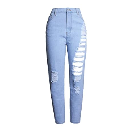 Willsego Pantalones Vaqueros Rasgados Azules claros de Las ...